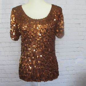 Adrianna Papell Hand Crochet Amber Glitter Blouse